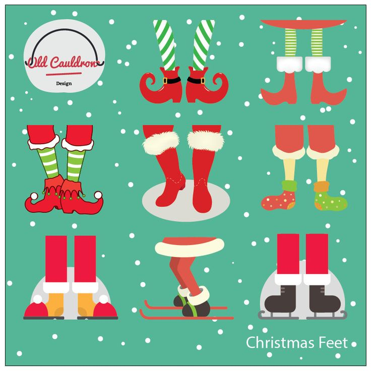 Christmas feet clipart commercial use instant download, vector graphics, digital clip art, digital images CL001 by OldCauldronDesign on Etsy