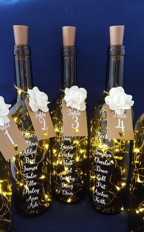 Plan de mesa de boda, Plan de mesa de botella de llamarada, Números de mesa de boda, Heartpieces …
