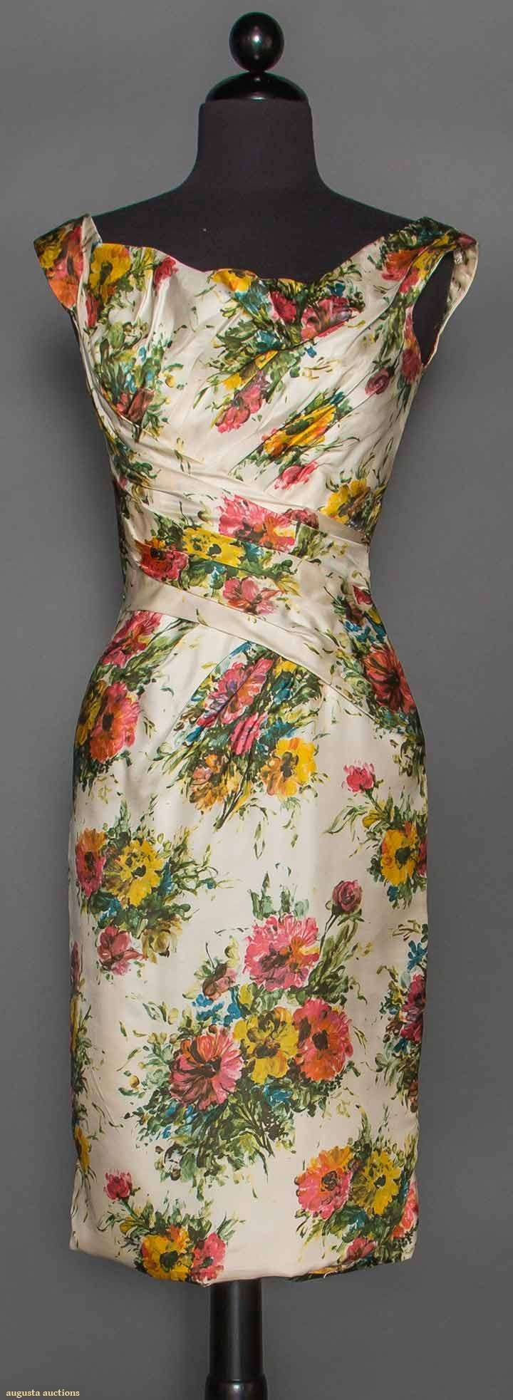 "CEIL CHAPMAN PRINTED DRESS, 1950 White silk twill w/ watercolor effect floral print, ruched midriff & bodice, label ""Ceil Chapman"""