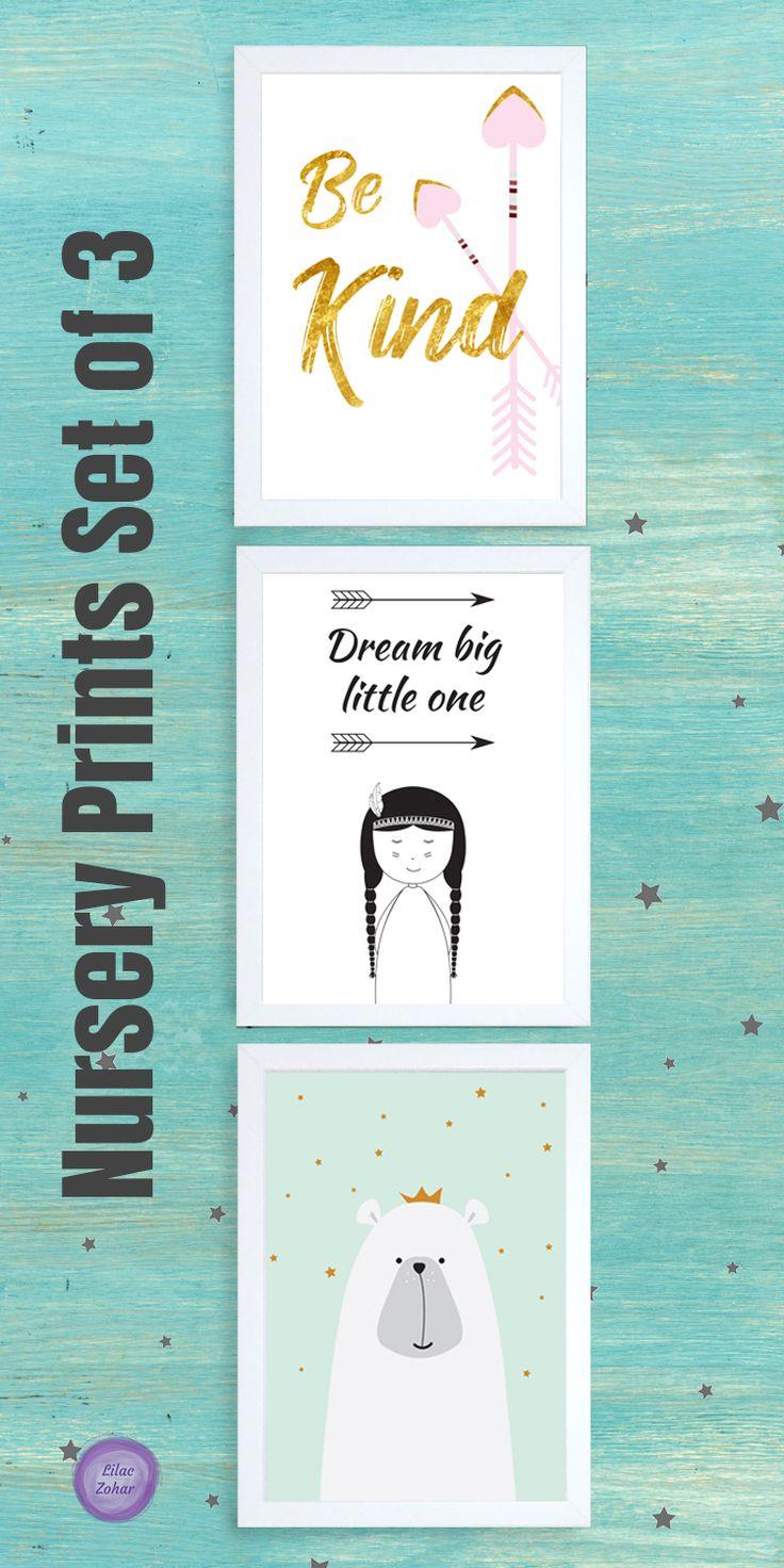 Nursery ideas, nursery decor, woodland nursery decor, Woodland art prints, Woodland prints, Rustic Nursery Decor, Boho Nursery Decor, Nursery print set, Girl nursery set