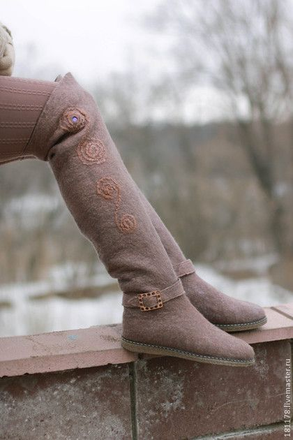"""Обувь ручной работы. Ярмарка Мастеров - ручная работа. Купить Валенки-ботфорты """"Гранит"""". Handmade. Коричневый, валенки высокие"""