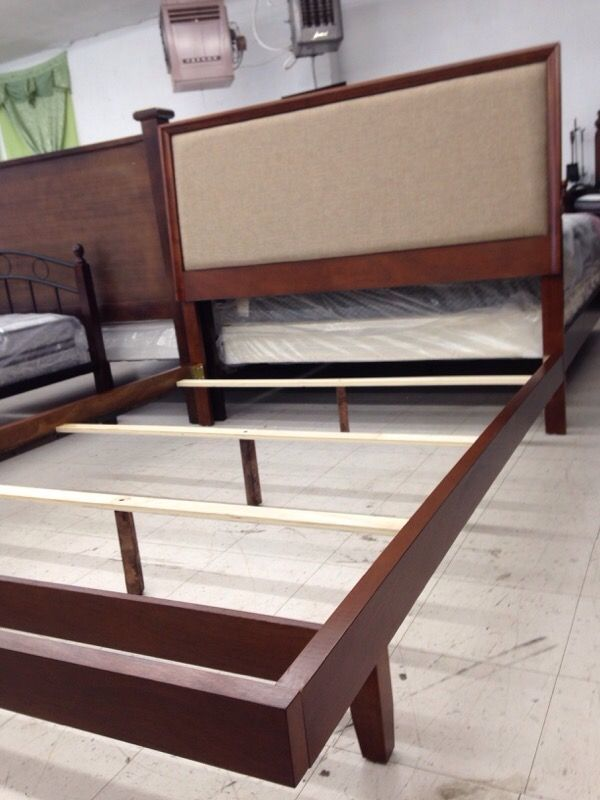 new never used queen bed frame low foot board profile with wood - Used Bed Frames