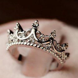 $3.19 Cute Diamante Crown Shaped Ring For Women