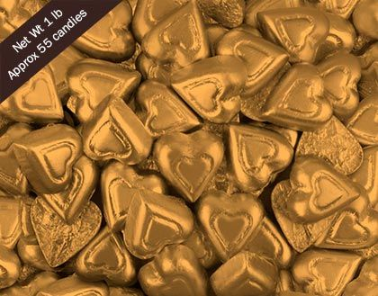 Gold Foil Madelaine Hearts Chocolate Hearts in Bulk #WrappedHersheys #customcandy #hersheybarwrappers #personalizedcandy