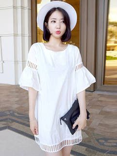 Sweet Loose Women Dress Hollow Short Sleeve Loose White Shift Dress