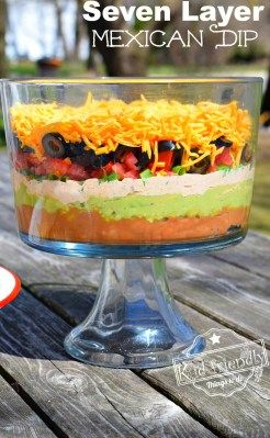Perfect for parties and backyard barbeques! www.kidfriendlythingstodo.com Easy and Delicious Seven Layer Mexican Dip Recipe