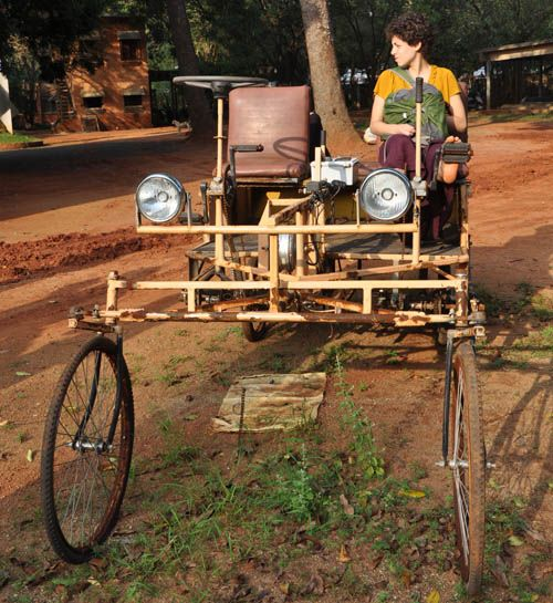 A bamboo car; come get a ride with us this winter at Sadhana Forest