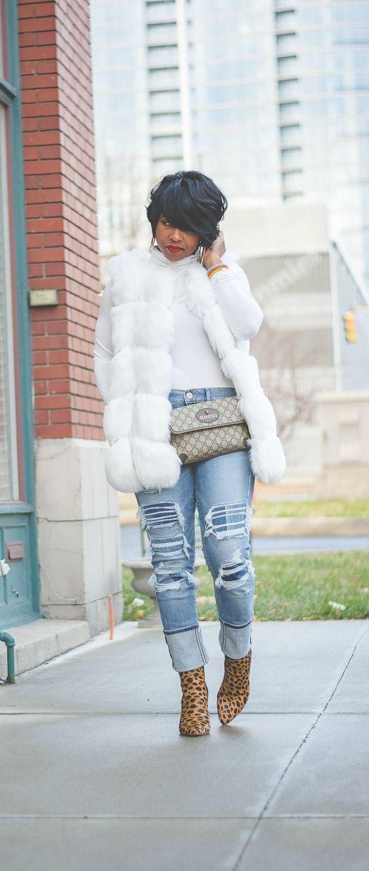 Fur Vest, White Fur Vest, Faux Fur, Turtleneck, Express Denim, Distressed Denim, Pixie cut, Big hoop earrings, Indy Style, Sweenee Style