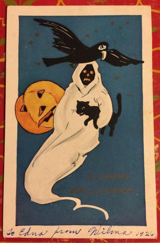 "ANTIQUE VERY RARE 1926 HALLOWEEN' ""SPOOK"" POSTCARD WHITNEY MADE WORCESTER MASS"