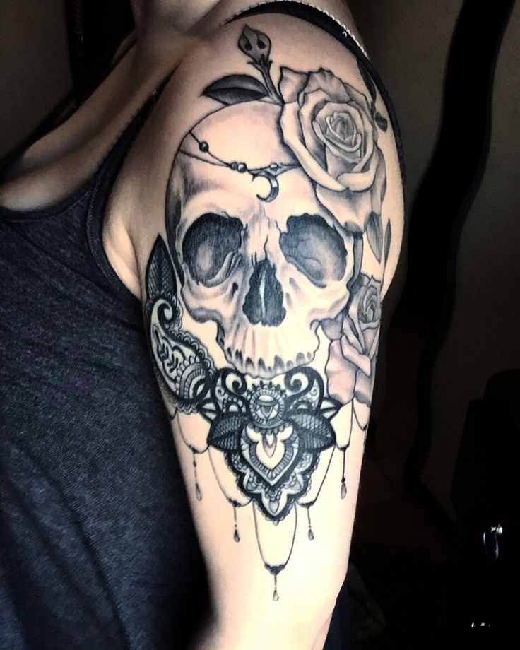 healed half sleeve tattoo. • Artist John McClintock • Shop Infamous Ink Stirling Scotland • Skull • Roses • inspired by Tyrande Whisperwind from the online game World of Warcraft