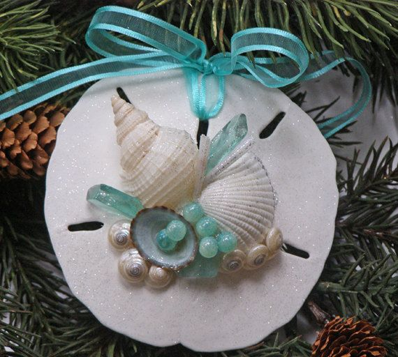 BEACH SANDOLLAR ORNAMENT Aqua No. 2 Christmas & by justbeachynow, $12.50