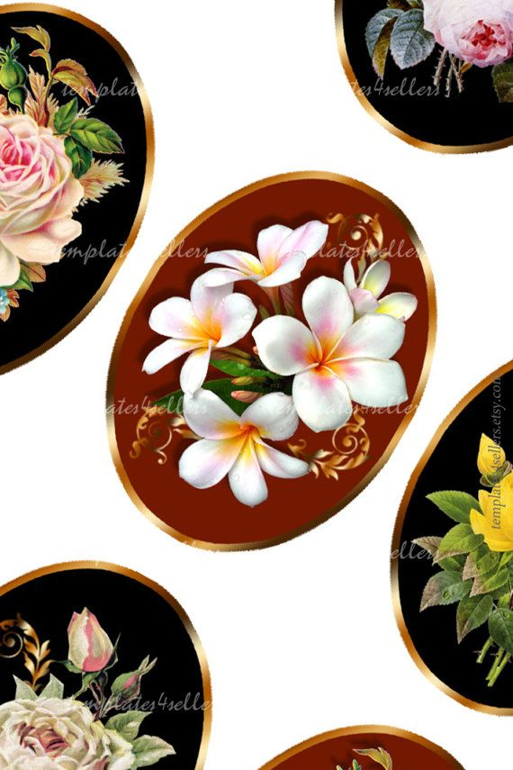 Digital Collage Sheet  Flowers 30x40 mm oval от Templates4Sellers