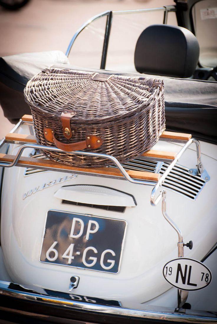 Picnic hamper & convertible. Perfect afternoon.convertible.