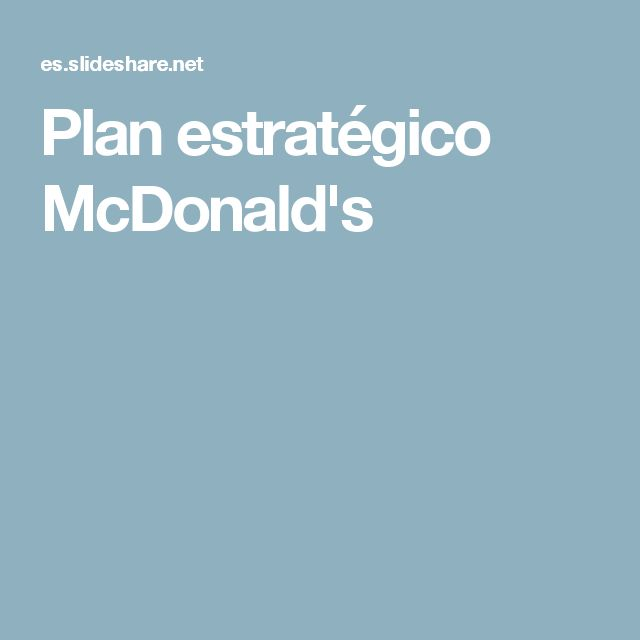 Plan estratégico McDonald's