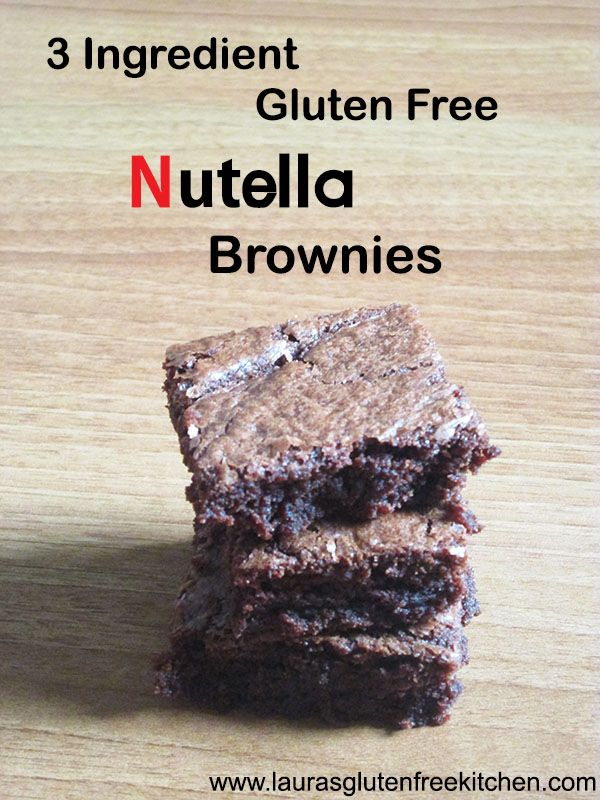 3 ingredient Nutella Brownies ---One bite of these soft, chewy brownies and you won't believe they were only made with 3 ingredients!