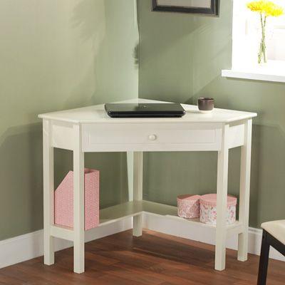 Corner Desk – Antique White Small area to sit the laptop