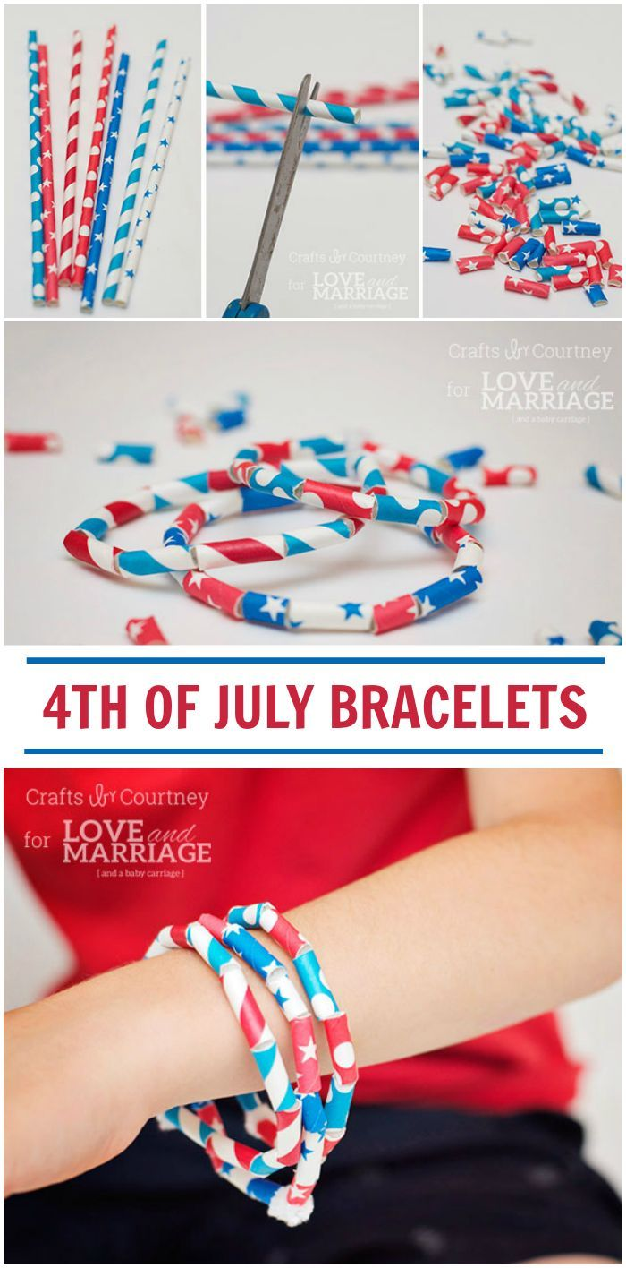 July 4th Craft: Patriotic Paper Straw Bracelets | Crafts ...