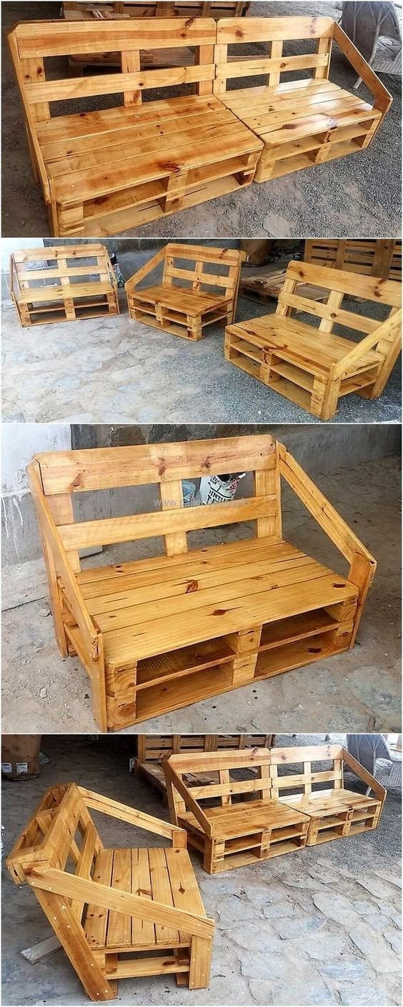 Wood pallets furniture is a good idea to create if there is a seating requirement in the garden of the home; it is great because there is no worry of its color fading away. It is painted with glossy finish to make it look appealing.