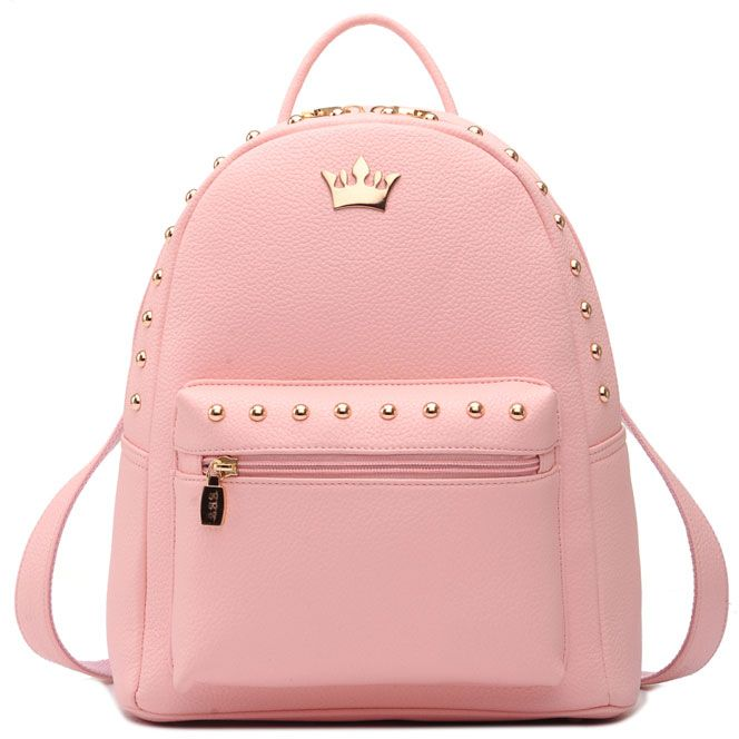 Leisure Girl Elegant Rucksack Punk Crown Rivet PU