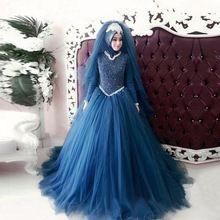Элегантный Темно-Синий Длинные Рукава Мусульманские Свадебные Платья 2017 Высокая Шея Свадебные Платья Vestido де noiva Халат де mariage(China (Mainland))