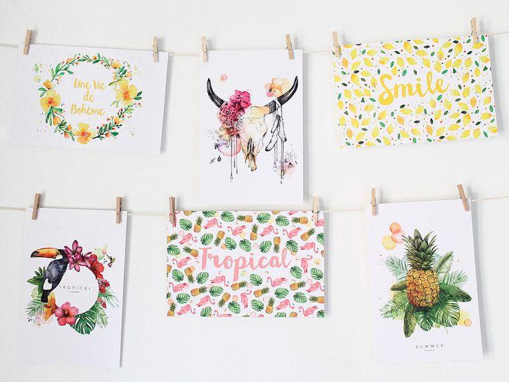 Cartes Postales Lot x6 Buffle, Tropical , Citron, Vie de bohème, Ananas, Flamant