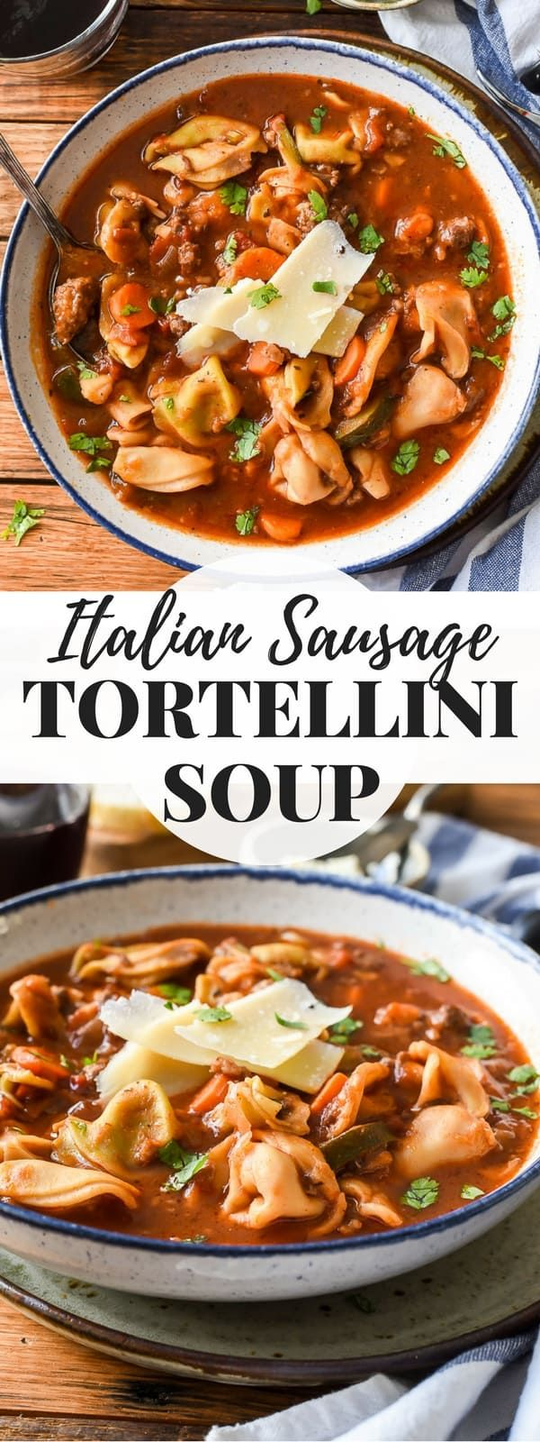 This Italian Sausage Tortellini Soup is a super hearty and satisfying soup that's perfect for company! Grab a crusty loaf of bread for dunking, and you've got a great winter dinner. #soup #tortellinisoup #sausagesoup #winterrecipes