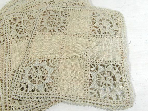 4 small antique square linen and lace by frenchvintagedream