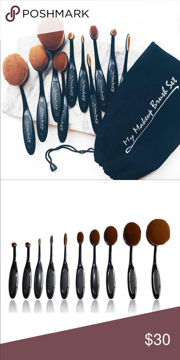 10 PC oval brush set 10 pc My Makeup Brush Set  Oval brush set never been used  Still in plastic  Different brush for contour, blush, bronze, etc. Makeup Brushes & Tools