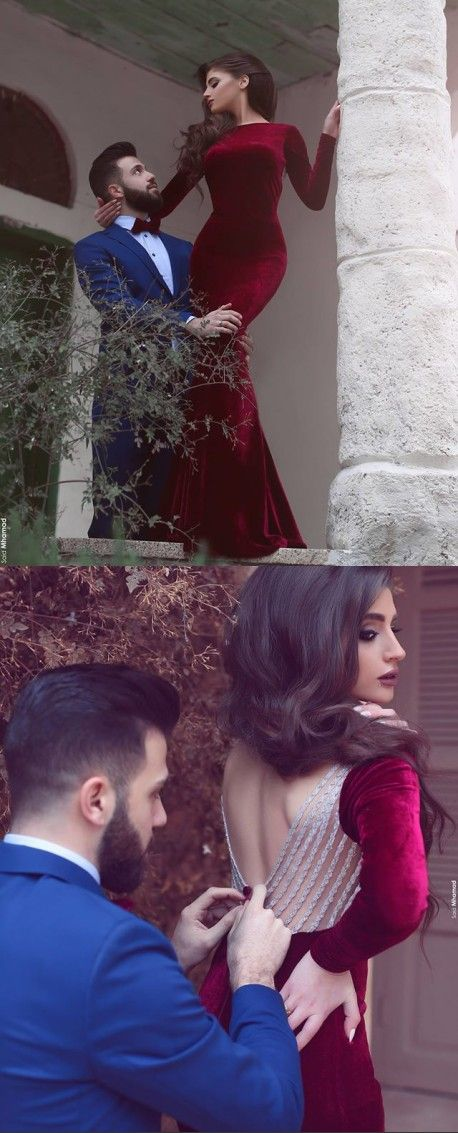 Said Mhamad Photography,Sexy Velvet Long Sleeve Burgundy Long Prom Dresses 2016