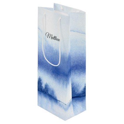 #Custom Name | Blue Winter Forest Paper Wine Bags - #bridesmaid gifts #bridal bride wedding marriage