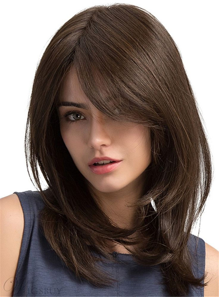 Long Natural Straight Side Fringe Capless Synthetic Wigs 20 Inches in 2020 | Curly hair with ...