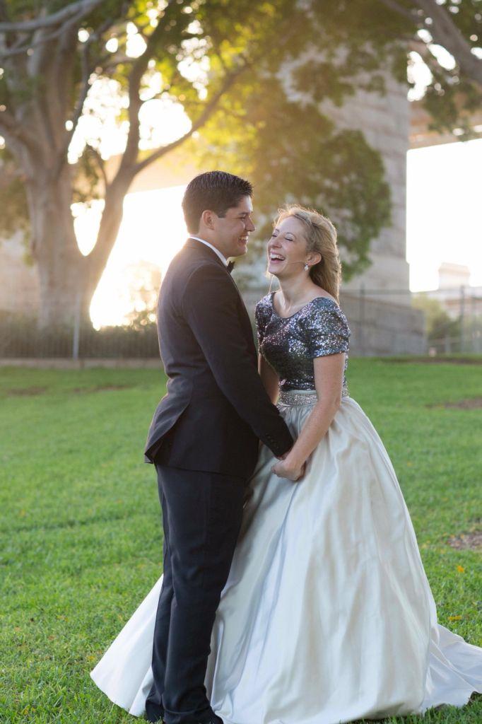 Sequin bride, Sydney wedding, sydney harbour bridge, sequins and satin skirt, water, the rocks