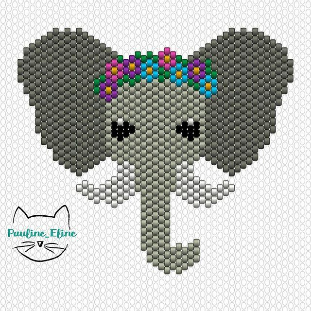 WEBSTA @ pauline_eline - Et voilà le diagramme d'hortense, amusez vous! #jenfiledesperlesetjassume #beading #beadpattern #diagrammeperles #miyuki #perles #motifpauline_eline #elephant #fleurs #flowers