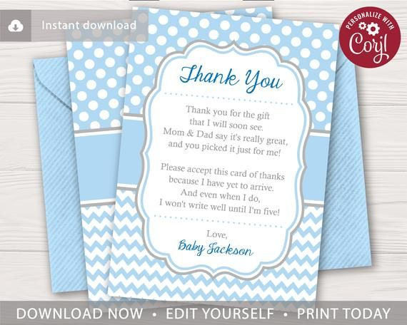 Baby Shower Thank You Card For Boys Editable Template Online Instant Download By Pugg Baby Shower Thank You Cards Printable Thank You Cards Thank You Cards