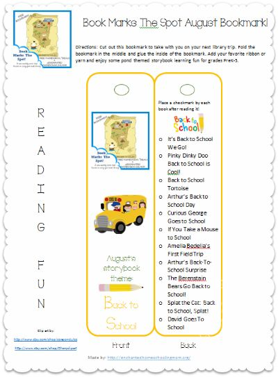 back to school book list and free bookmark
