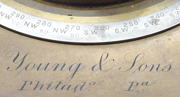 """KIMBER CLEAVER'S MARKING PROTRACTOR, """"Young & Sons, Philada., Pa."""" brass, 5"""" diameter divided circle, clamp and long tangent screw. The circle has a silver degree scale divided every half-degree and labeled with directional headings. The circle is mounted with four knobs for rotation and four spring-loaded marking pins, external one-arcminute vernier in silver"""