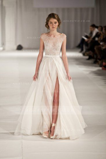 Bateau Neck Lace Bodice Split Front Long Chiffon Wedding Dress _2