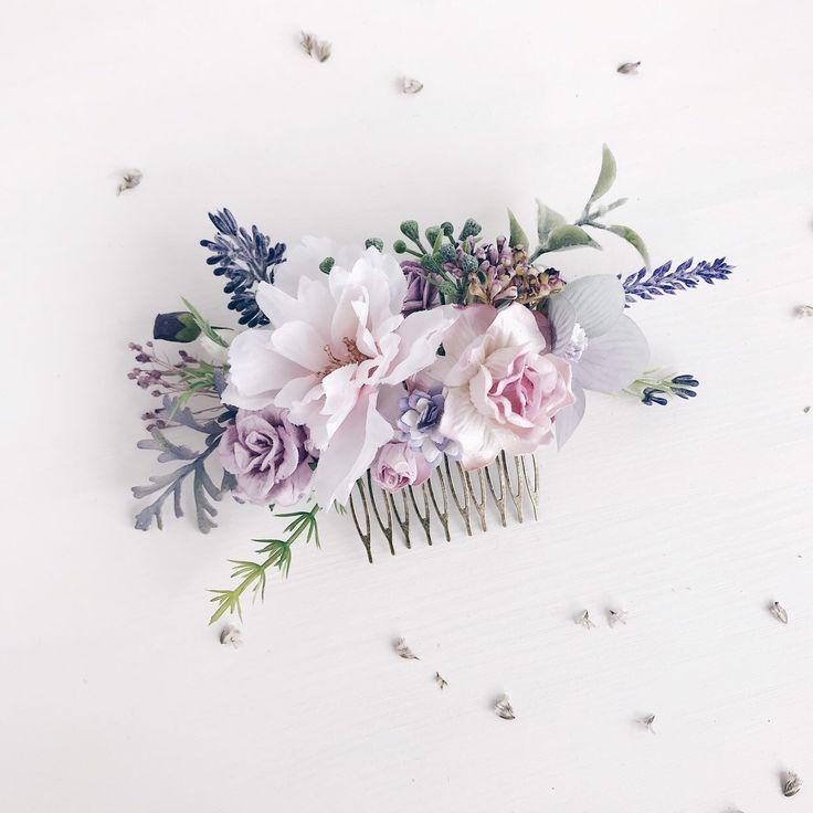 Flower Hair comb, Lavender hair comb wedding, Bridal flower hair comb