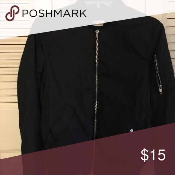 Black H&M boys Bomber jacket Black with silver zippers Jackets & Coats