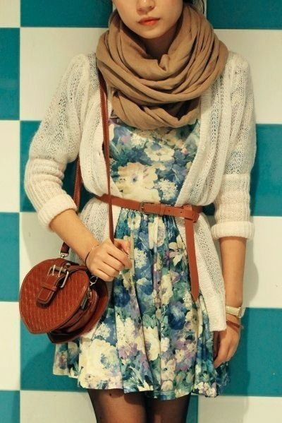 Vintage Outfits Tumblr | Vintage with flower dress - dress, Headbanger Accessories - bag, White ...