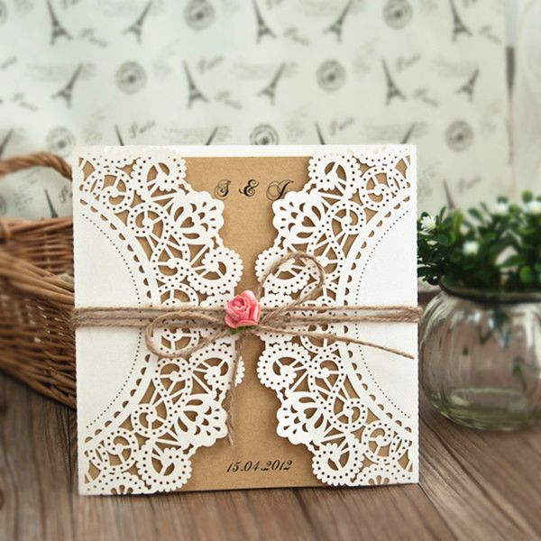 country pink paper flower rustic laser cut wedding invitations EWWS051 as low as $1.99