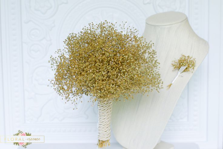 Gold Babies Breath bouquet with free matching boutonniere, real preserved babies breath, bridesmaids bouquet, wedding bouquet, dried flower by FloralessenceFlorist on Etsy https://www.etsy.com/listing/471990221/gold-babies-breath-bouquet-with-free