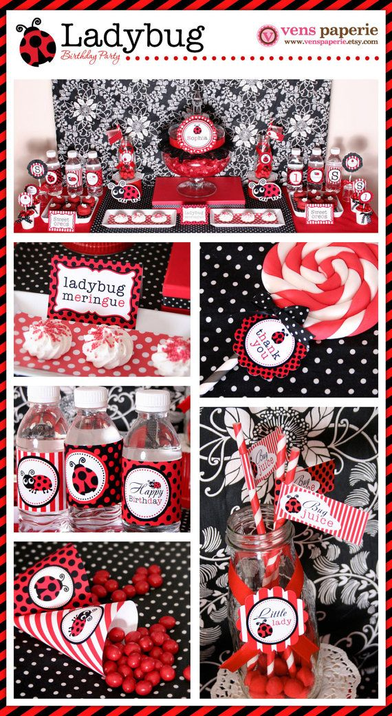 ladybug party first birthday dessert table, DIY printable decoration by http://www.etsy.com/shop/venspaperie