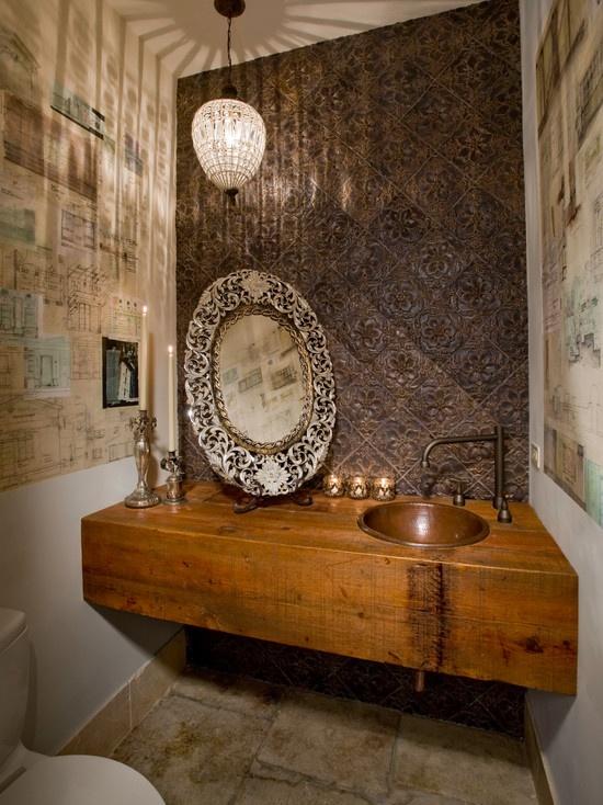 Powder Room Design, Awesome Wood Vanity
