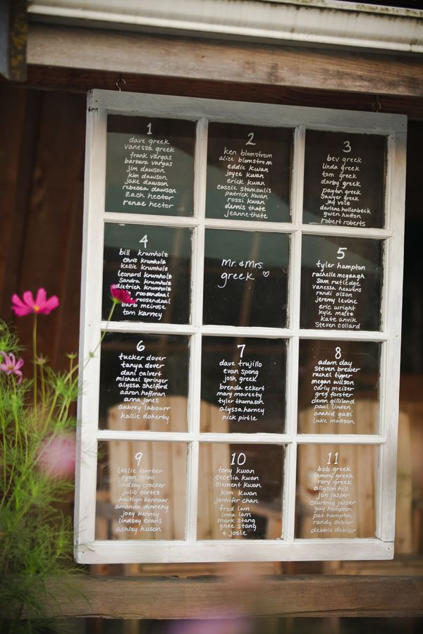 Old Window Seating Chart; rustic vintage wedding reception decor