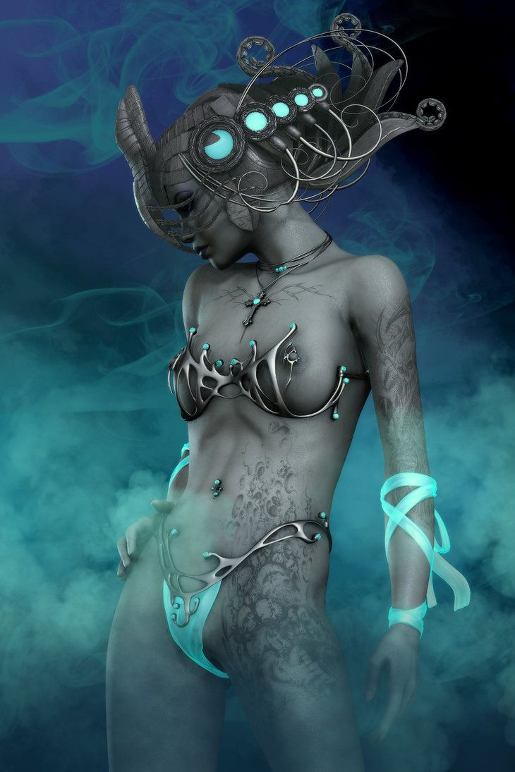 Frost Whisper by *RGUS # cyberpunk, robot girl, cyborg, futuristic, android, sci-fi, science fiction, cyber girl, digital art