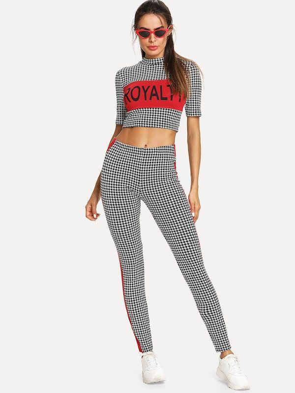 81d149626c98f Conjunto de pijama top corto de cuello alto con pantalones con cinta en  contraste -Spanish SheIn(Sheinside)