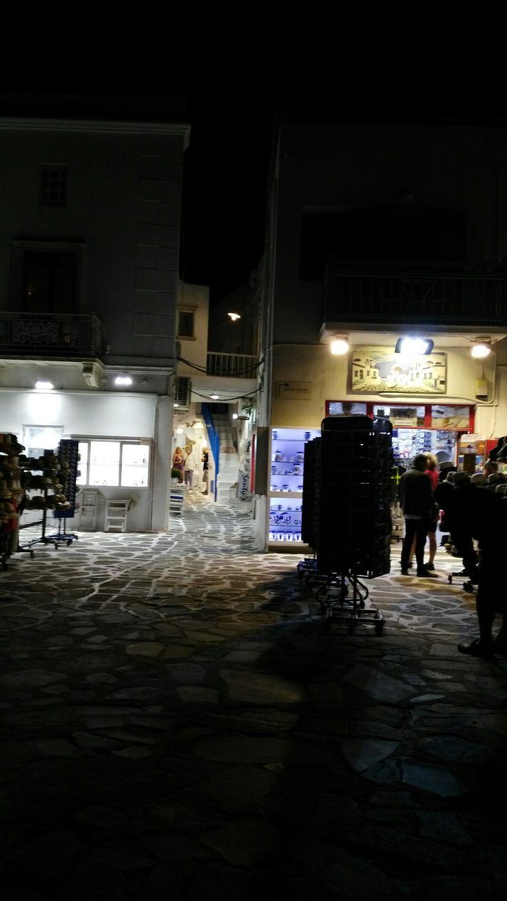Mykonos town by night .