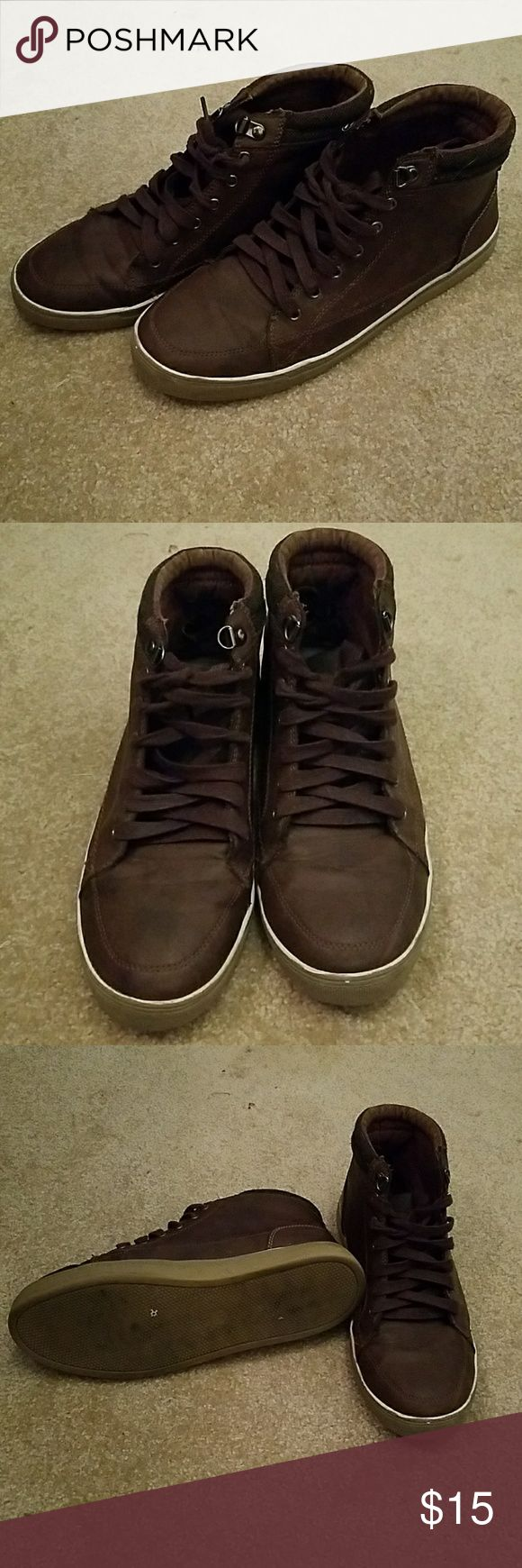 A+ Brown chukka sneakers Brown chukka sneakers with navy blue accents on the back. Inside heels are a bit worn down. A+ by Aldo Shoes Sneakers