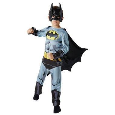 Batman kostuum - maat 116/128  Verkleed je als de superheld Batman van DC Comics. Deze grijze jumpsuit met zwarte arm- en beenstukken wordt geleverd inclusief cape en Batman masker.  EUR 31.99  Meer informatie